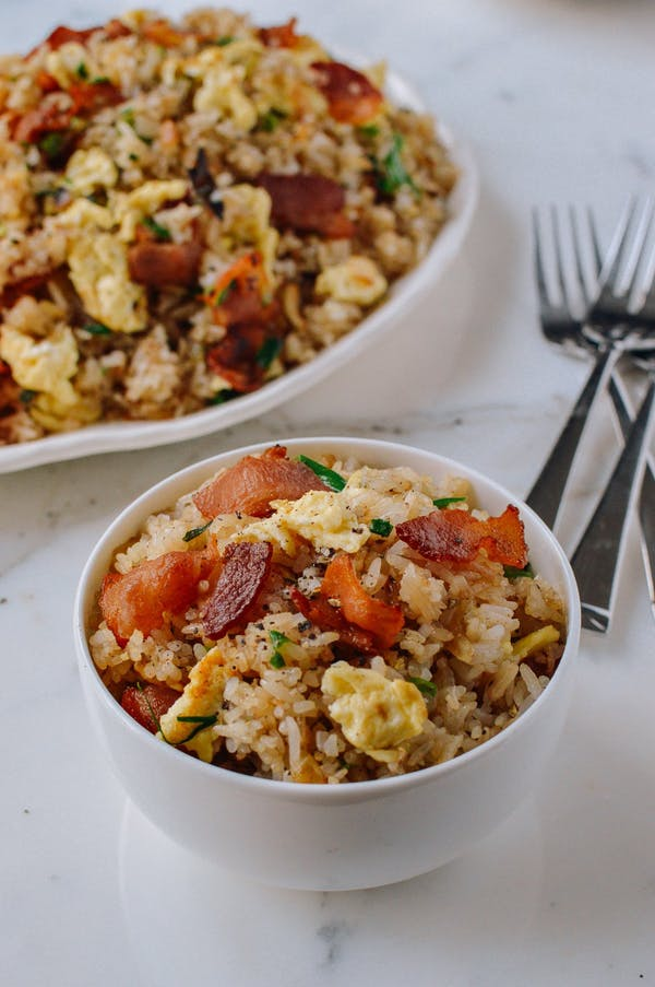 Slanina and egg fried rice